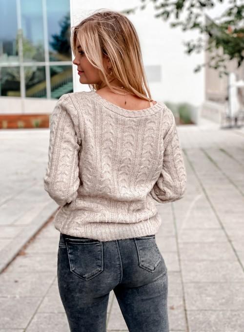 Sweter z warkoczem Cristi beżowy 3