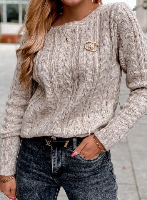 Sweter z warkoczem Cristi beżowy 1