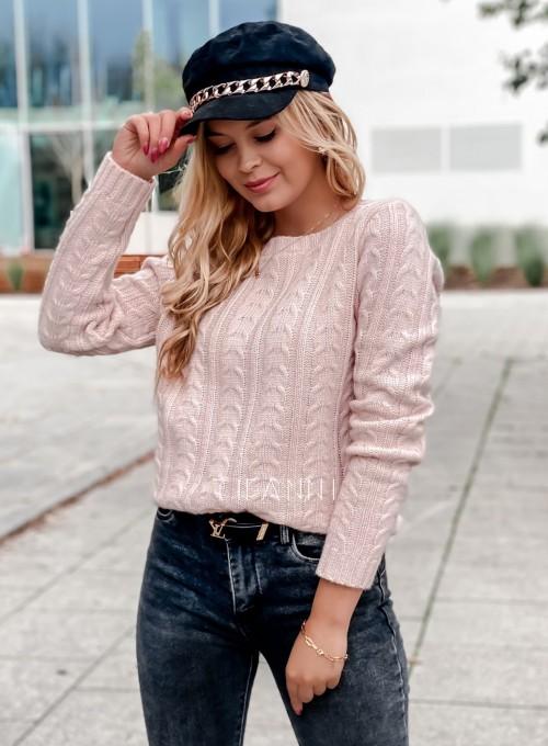 Sweter z warkoczem Cristi pudrowy