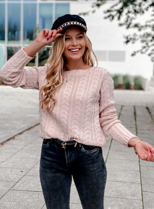Sweter z warkoczem Cristi pudrowy 4