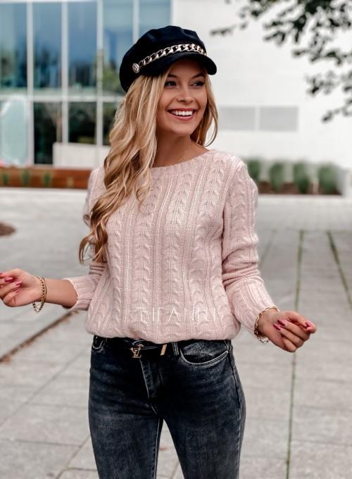 Sweter z warkoczem Cristi pudrowy 2