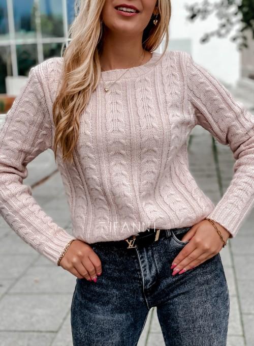 Sweter z warkoczem Cristi pudrowy 1