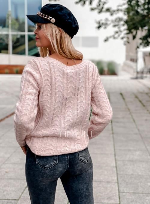 Sweter z warkoczem Cristi pudrowy 3