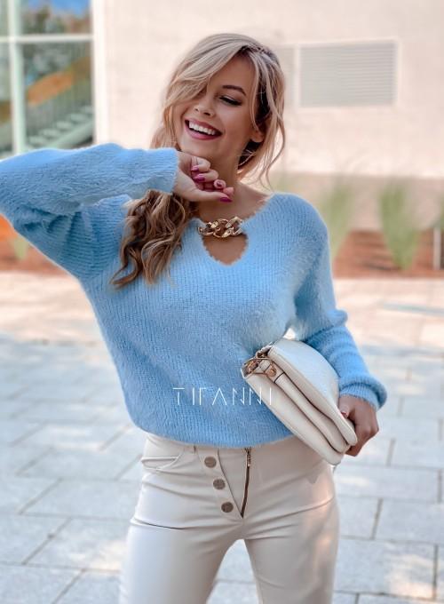 Sweter z ozdobnym łańcuszkiem Loretto blue 3