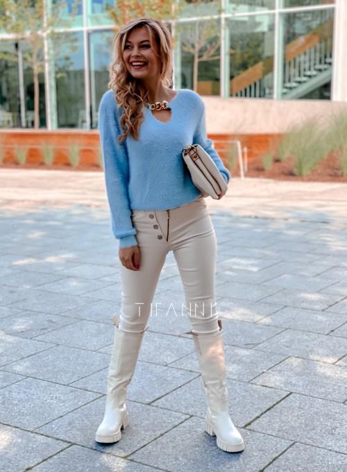 Sweter z ozdobnym łańcuszkiem Loretto blue 2