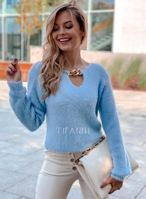 Sweter z ozdobnym łańcuszkiem Loretto blue 4
