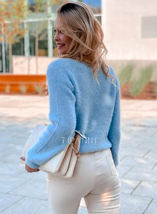Sweter z ozdobnym łańcuszkiem Loretto blue 5