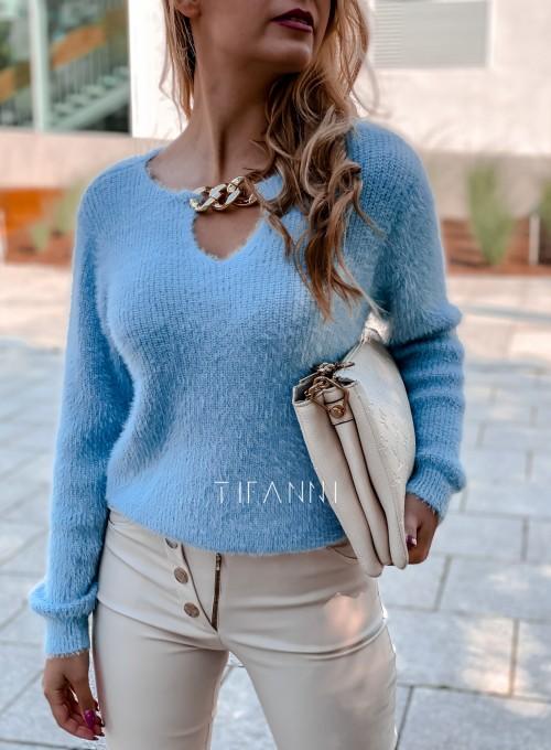 Sweter z ozdobnym łańcuszkiem Loretto blue 1