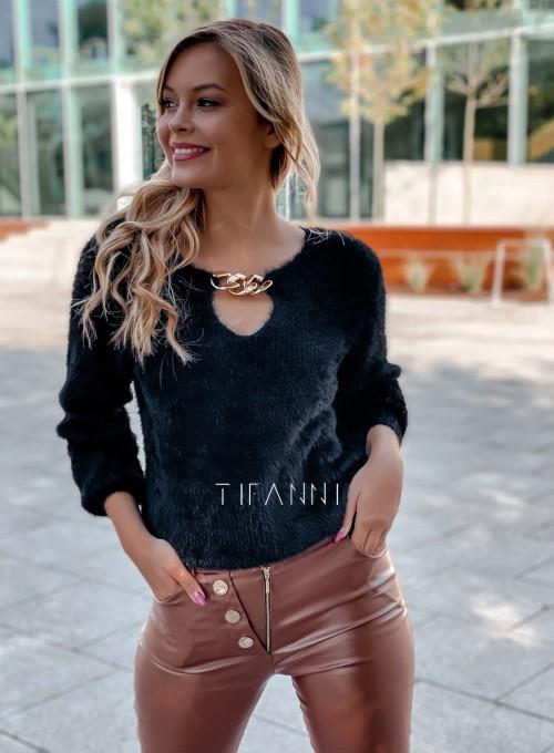 Sweter z ozdobnym łańcuszkiem Loretto czarny