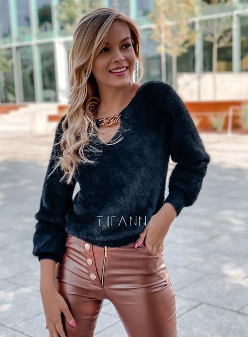 Sweter z ozdobnym łańcuszkiem Loretto czarny 2