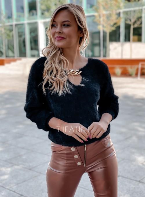 Sweter z ozdobnym łańcuszkiem Loretto czarny 3