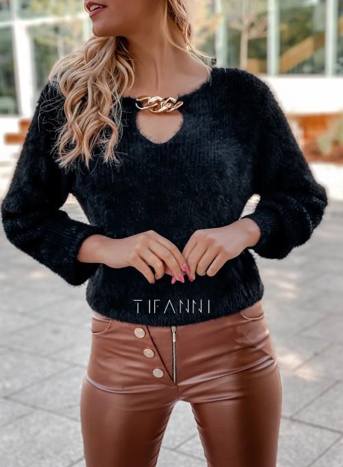 Sweter z ozdobnym łańcuszkiem Loretto czarny 1