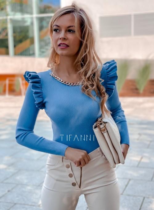 Bluzka z falbanką na rękawie Viana blue