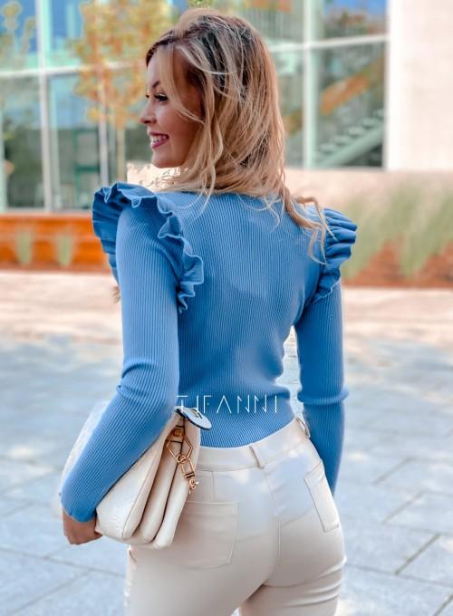 Bluzka z falbanką na rękawie Viana blue 4
