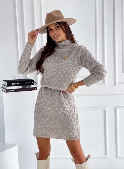 Sukienka swetrowa Evely beżowa