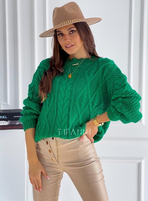 Sweter z warkoczem Lanco green