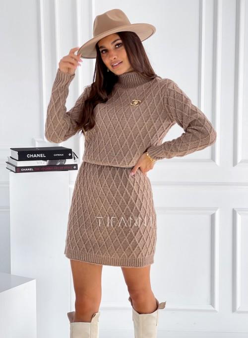 Sukienka swetrowa Evely nude