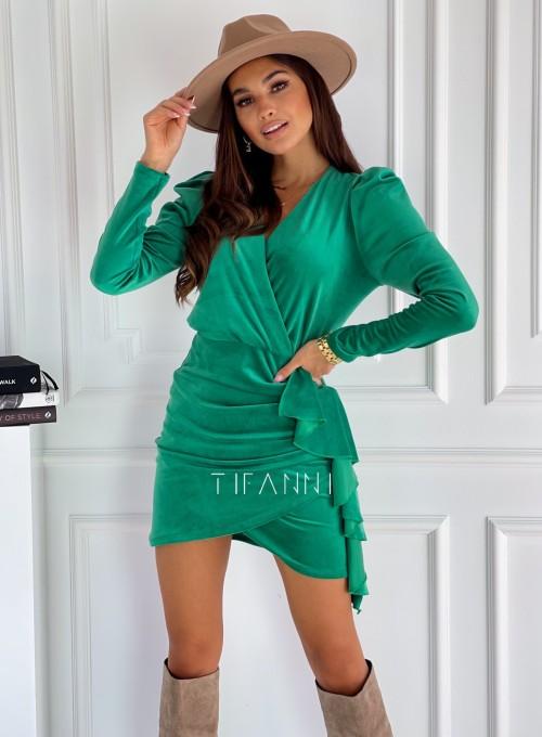 Sukienka z falbanką Arcana green