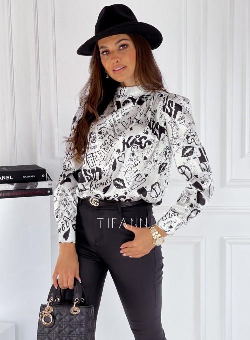 Bluzka z ozdobnymi guzikami na ramionach Rafi white print