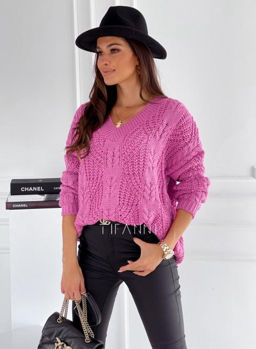 Sweter ażurowy Card pink