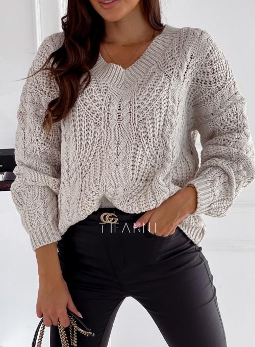 Sweter Card V-dekolt beżowy 1