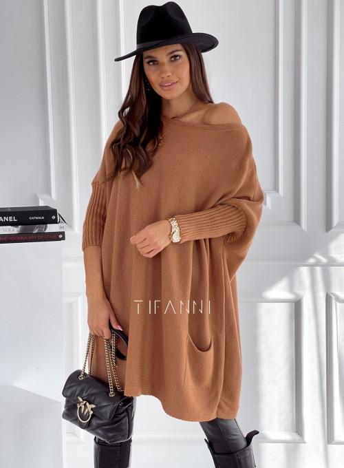 Sweter oversize Olgi karmelowy