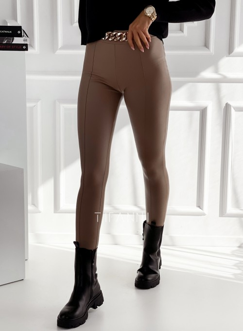 Spodnie leginsy z łańcuchem Trini camel