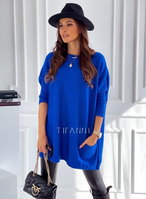 Sweter oversize Olgi kobaltowy