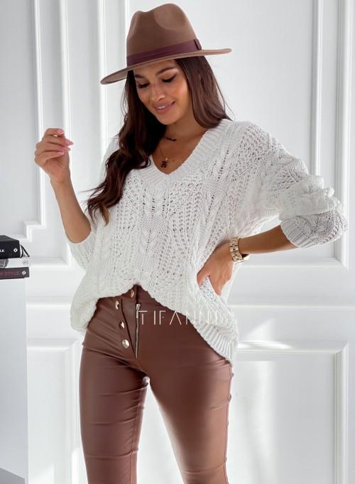 Sweter ażurowy Card śmietankowy