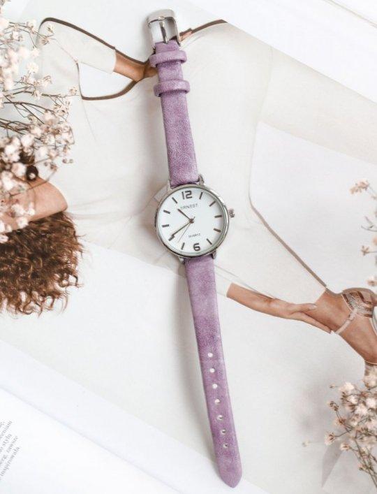 Zegarek Ernesto #06, pasek z kolorze liliowym