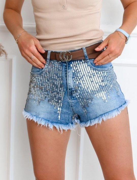 Szorty jeansowe z cekinami