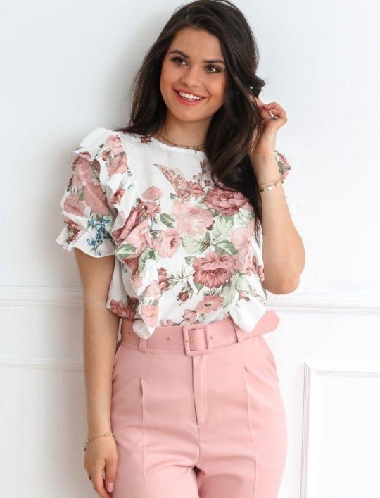 Bluzka Menfi śmietankowa w kwiatki