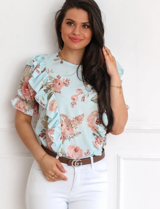 Bluzka Menfi miętowa w kwiatki