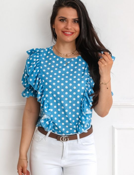 Bluzka Menfi niebieska w groszki