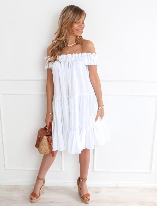 Sukienka hiszpanka Debra w kolorze białym