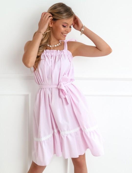 Sukienka oversizowa Flori pudrowa