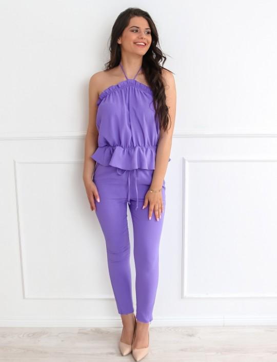 Fioletowy komplet bluzka ze spodniami