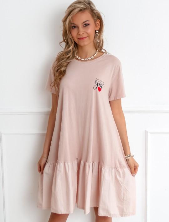 Sukienka YOU pudrowa