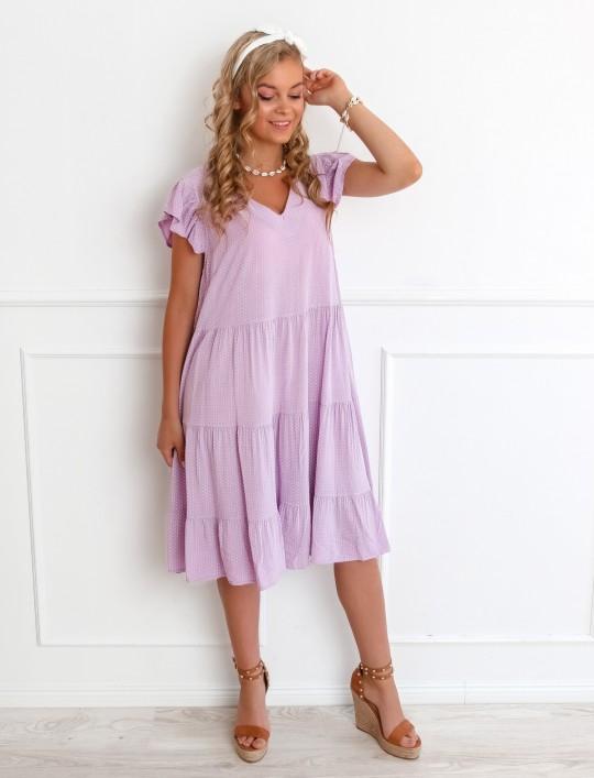 Sukienka Pati liliowa w groszki