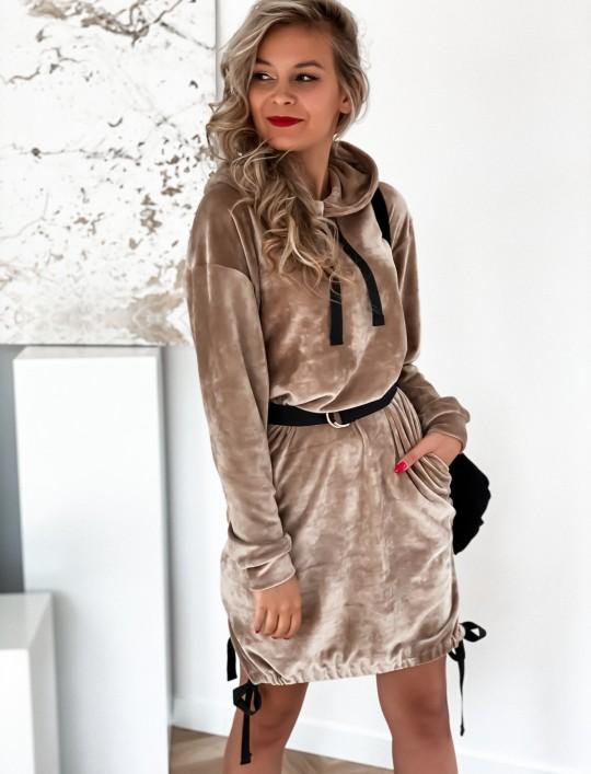 Sukienka welurowa Scali beżowa