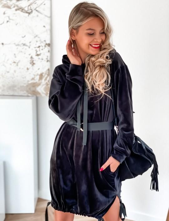 Sukienka welurowa Scali czarna