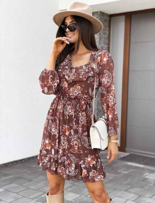 Sukienka z dekoltem i żabotem Nolle karmelowa