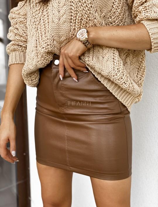 Woskowana ołówkowa spódnica w kolorze karmelowym