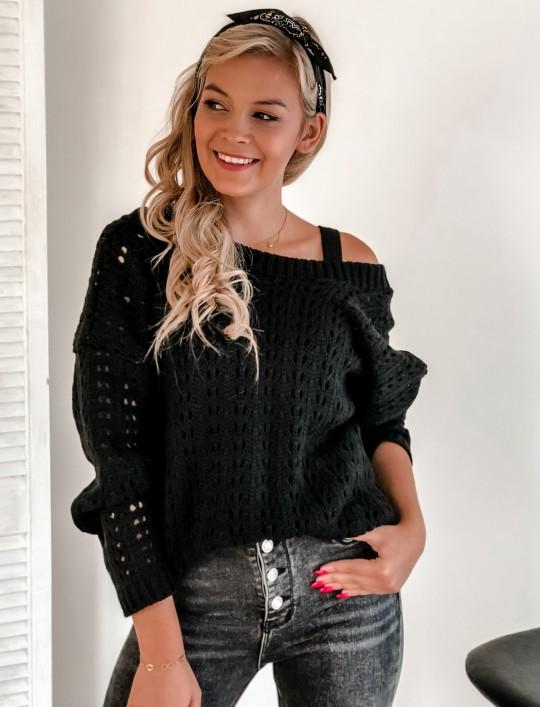 Sweter Karmen czarny