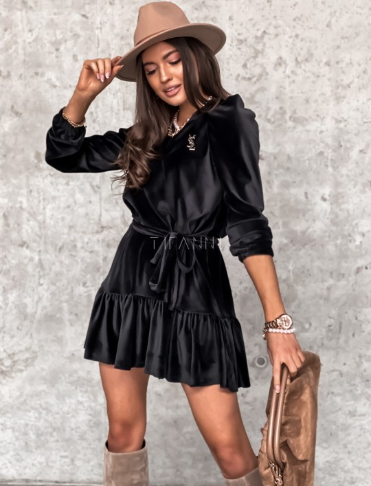 Welurowa czarna sukienka Princes