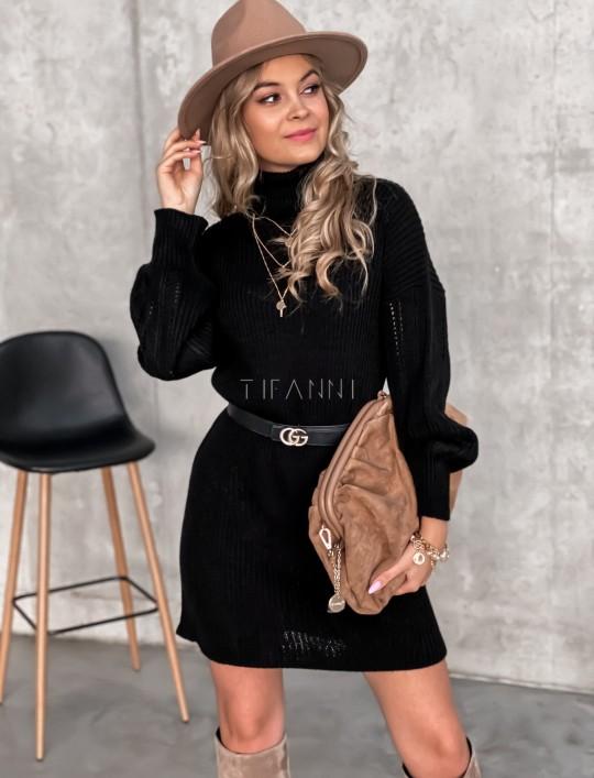 Swetrowa sukienka z golfem czarna