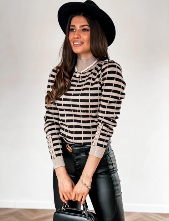 Sweter Silla w beżowo-czarne paski