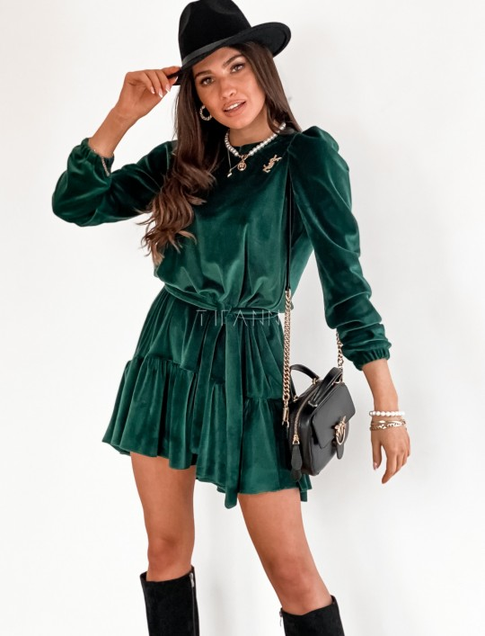 Welurowa sukienka Princes butelkowa zieleń
