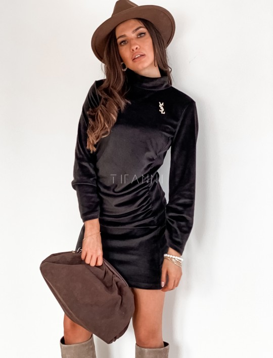 Sukienka welurowa Riri czarna