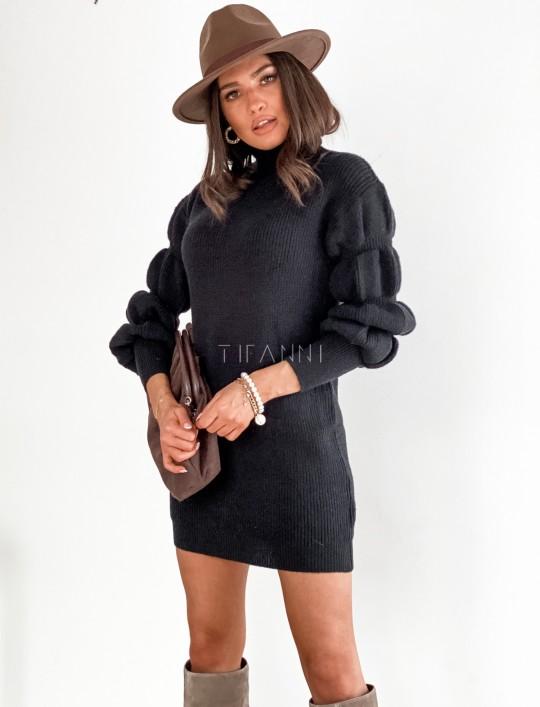 Sukienka swetrowa z golfem Alexa czarna